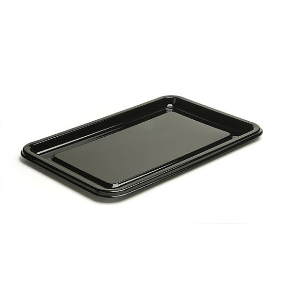 plateau rectangle en plastique rigide noir (16 x 35 cm) x 10