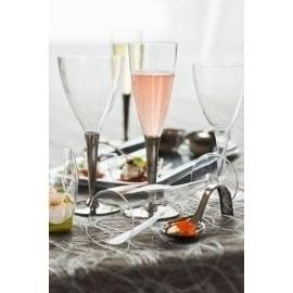 10 flûtes à champagne en plastique transparent pied argent 10 cl