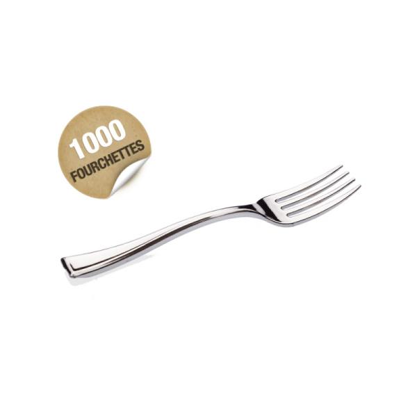 1000 mini fourchettes en plastique rigide métallisé 10 cm