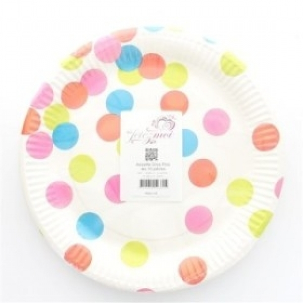 10 assiettes en carton gros pois - multicolore