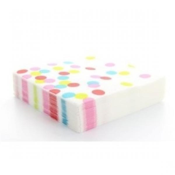 20 serviettes à gros pois multicolore