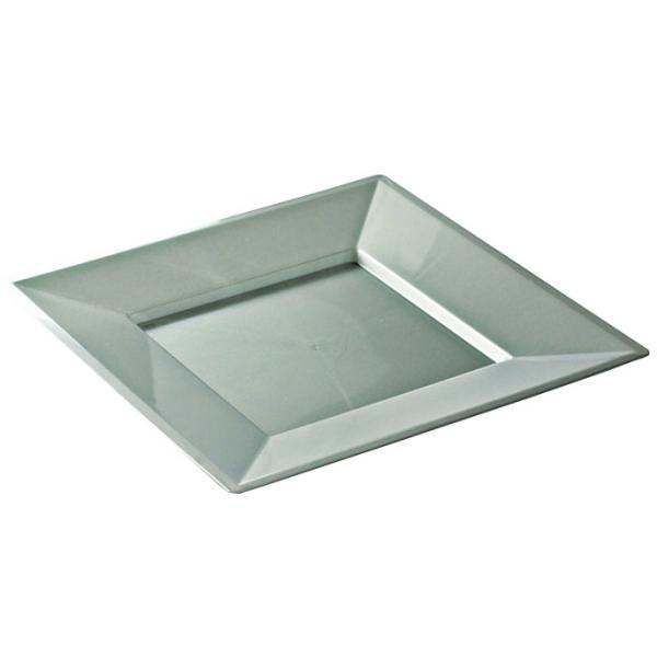 assiette carrée en plastique argent prestige (24 cm) x 12