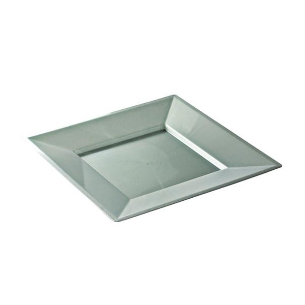 assiette carrée plastique argent prestige (18 cm) x 12