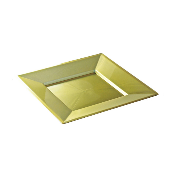 assiette carrée plastique or prestige (18 cm) x 12