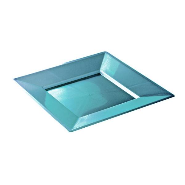 assiette carrée plastique turquoise prestige (18 cm) x 12