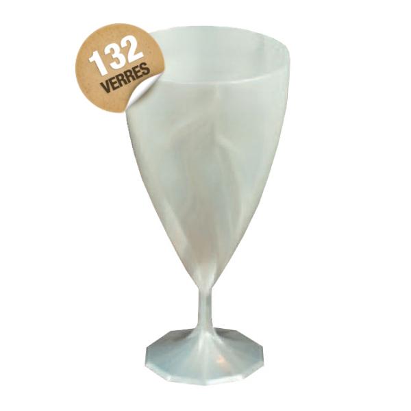 verre cristal à eau jetables design blanc nacré x 132