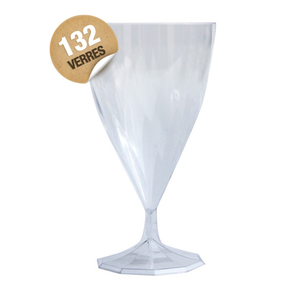132 verres à eau design plastique rigide cristal transparent 25 cl