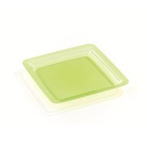 assiette carrée plastique rigide vert anis (18 cm) x 200