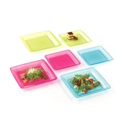 assiette carrée plastique rigide turquoise (18 cm) x 200