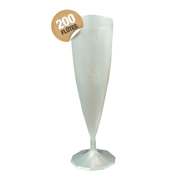 flûte à champagne monobloc de luxe design blanc nacré x 200