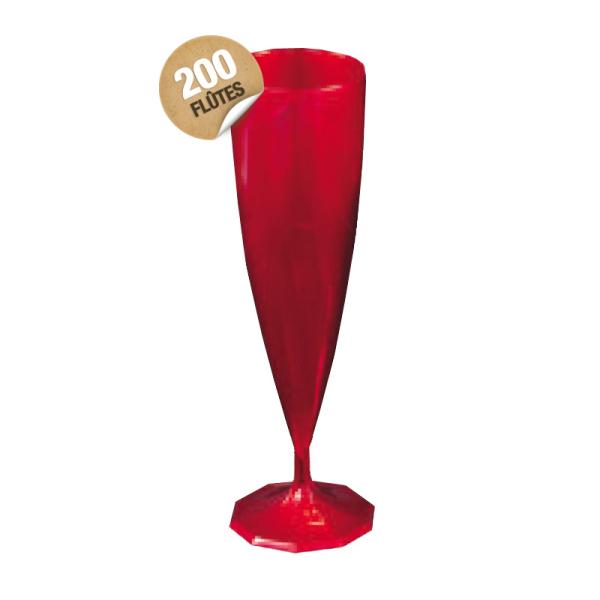 flûte à champagne monobloc de luxe design rouge carmin 13 cl x 200