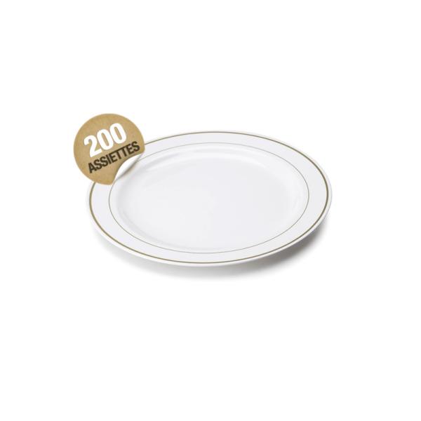 200 assiettes en plastique rigide blanc liseré or 15 cm