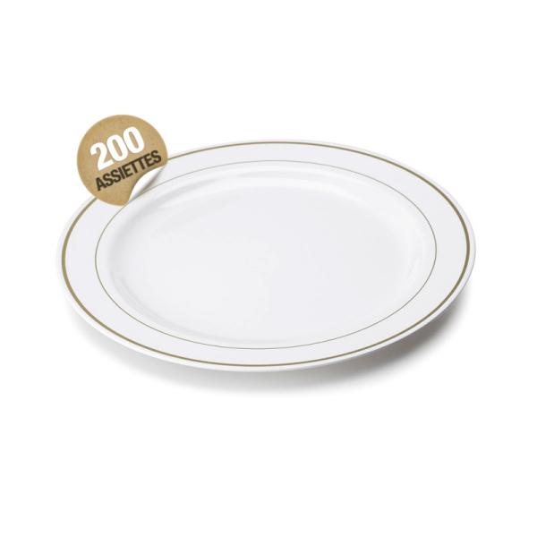 200 assiettes en plastique rigide blanc liseré or 23 cm