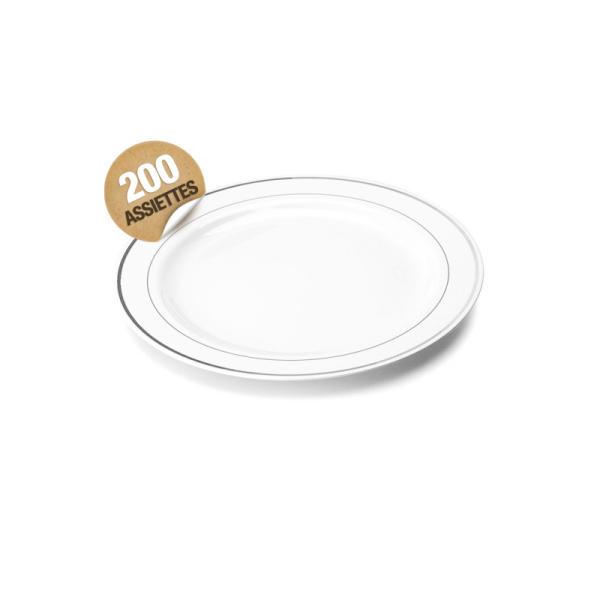 200 assiettes en plastique rigide blanc liseré argent 15 cm