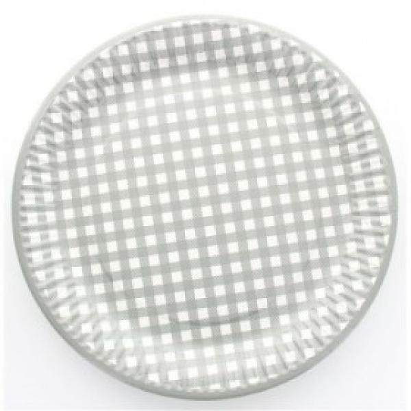 10 assiettes en carton vichy - gris
