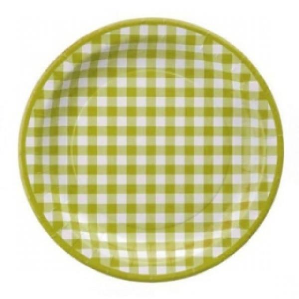 10 assiettes en carton vichy - vert