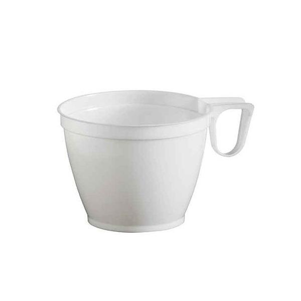 tasse à café en plastique blanc avec anse 18 cl x 50