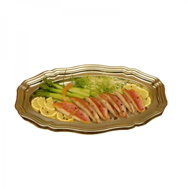 plateau de buffet ovale en plastique or (27 x 40 cm) x 5