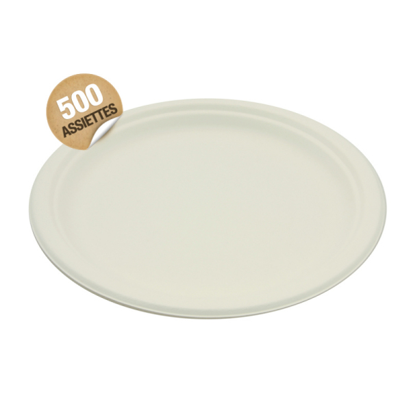 500 assiettes rondes rigides biodégradables 23 cm