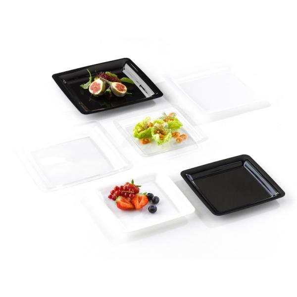 assiette carrée  plastique rigide noir (23 cm) x 20