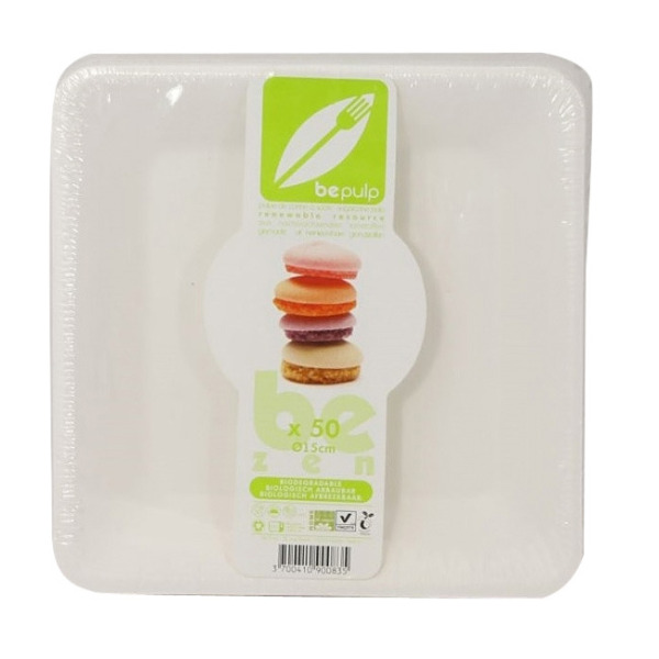 assiette carrée biodégradable be pulp (15,5 cm) x 50