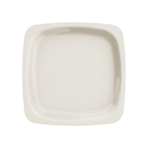assiette carrée en plastique rigide ivoire (18 cm) x 20
