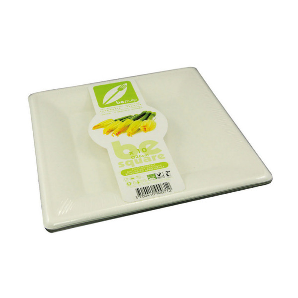 assiette carrée biodégradable be pulp (26 cm) x 40