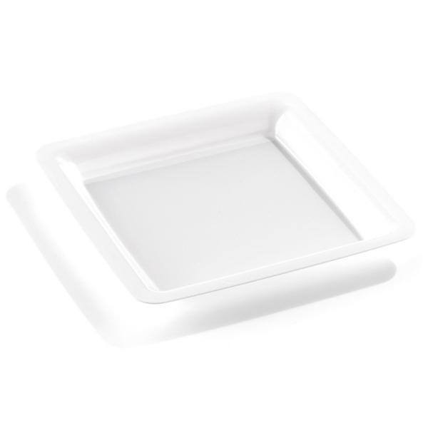 assiette carrée plastique rigide blanc (23 cm) x 20