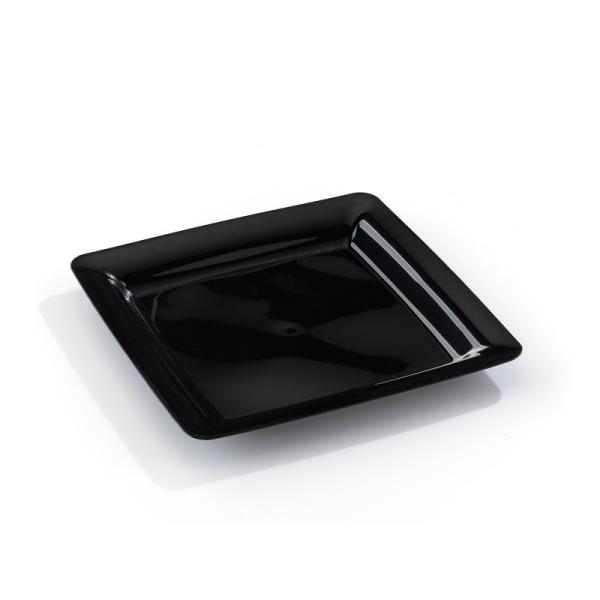 assiette carrée plastique rigide noir (18 cm) x 20