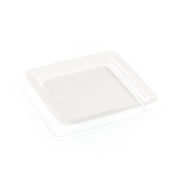20 assiettes en plastique rigide carré transparent 23 cm