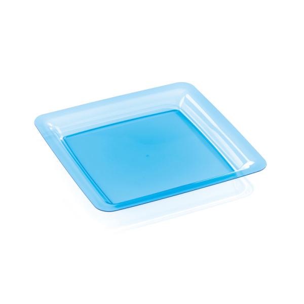 20 assiettes en plastique rigide carré turquoise 18 cm