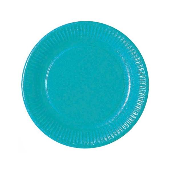 assiette en carton turquoise (23 cm) x 20