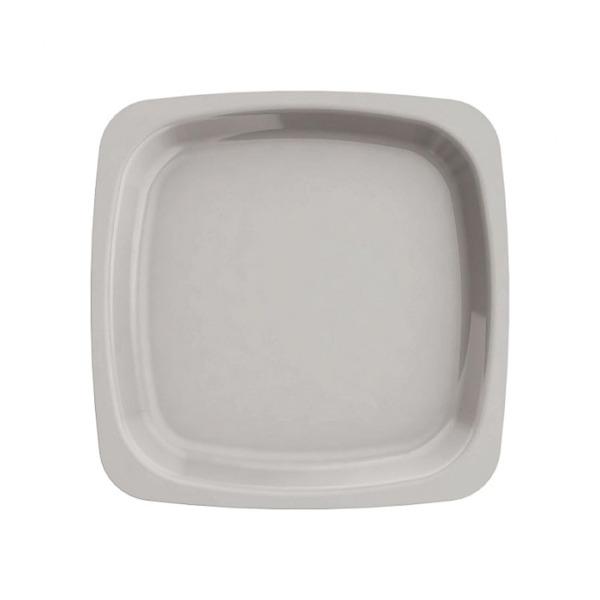 assiette carrée en plastique rigide gris-taupe (18 cm) x 20