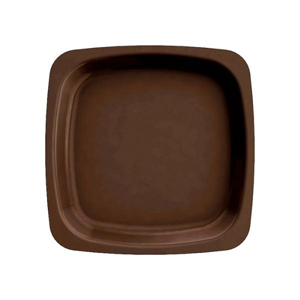 assiette carrée en plastique rigide marron (18 cm) x 20