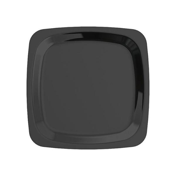 assiette carrée en plastique rigide noir (18 cm) x 20