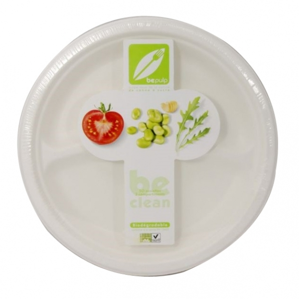 assiette ronde à compartiments biodégradable (26 cm) x 50