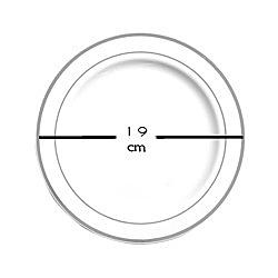 assiette plastique rigide blanc liseré argent (19 cm) x 20
