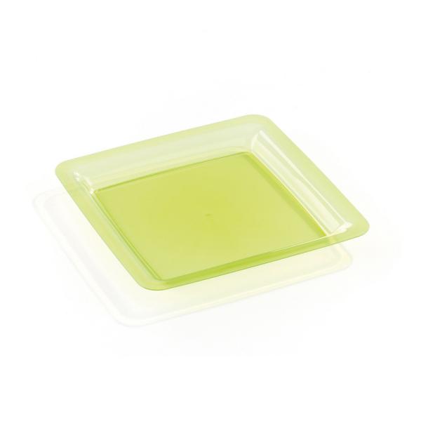 assiette carrée plastique rigide vert anis (18 cm) x 20