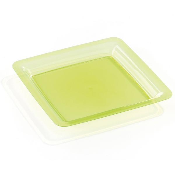 assiette carrée plastique rigide vert anis (23 cm) x 20