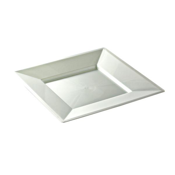 asiette carrée en plastique blanc nacré prestige (24 cm) x 12