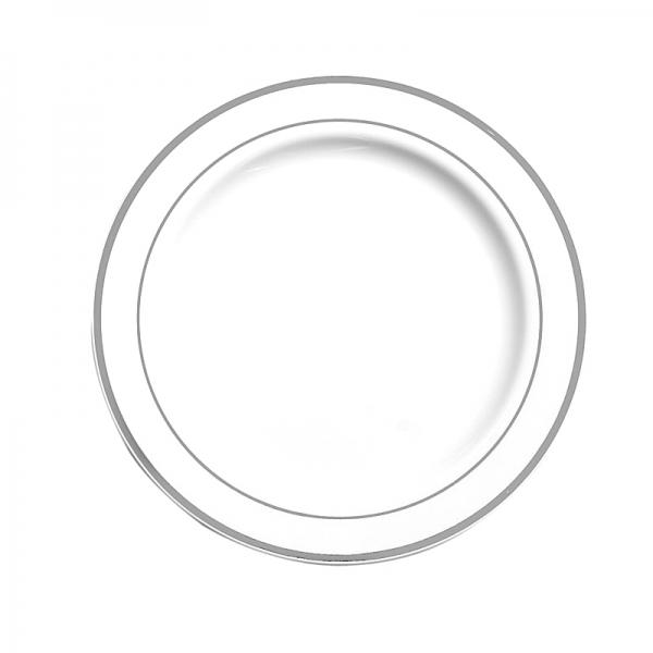 20 assiettes en plastique rigide blanc liseré argent 26 cm