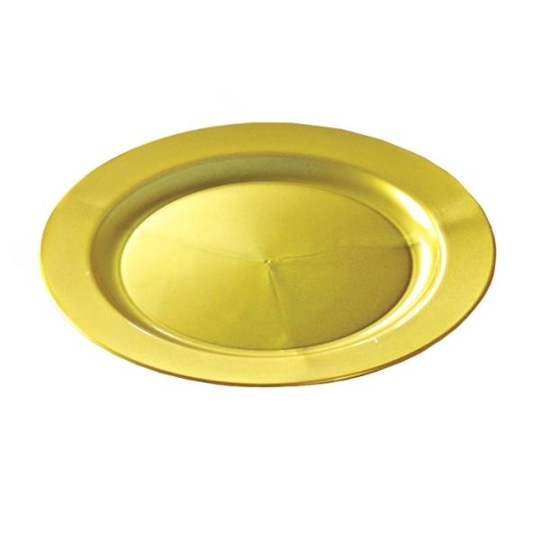 assiette ronde en plastique rigide or (24 cm) x 12