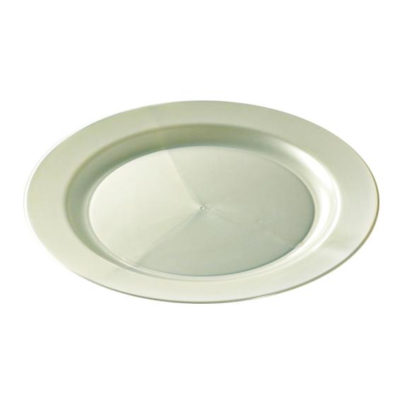 assiette ronde en plastique rigide blanc nacré (24 cm) x 12