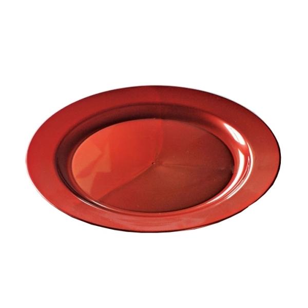 assiette ronde en plastique rigide rouge carmin (24 cm) x 12
