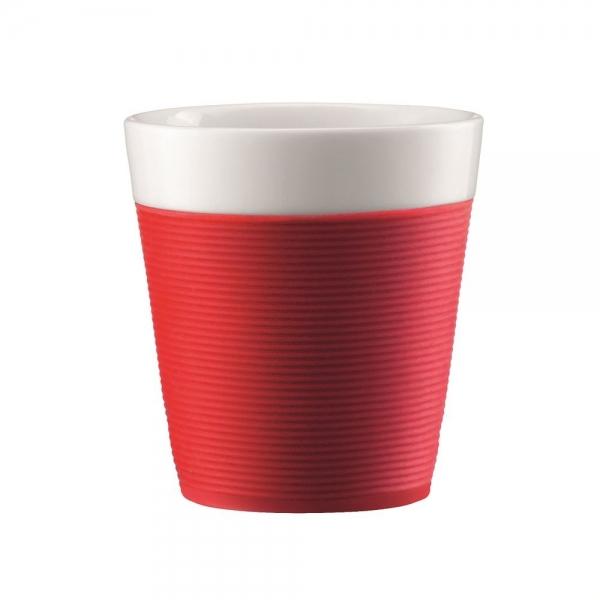 set 2 mugs en porcelaine bistro bodum® avec bande silicone 17 cl rouge
