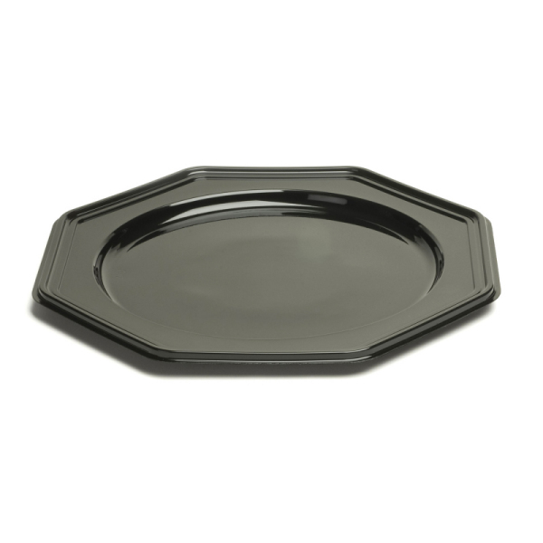 plat octogonal en plastique rigide noir (30 cm) x 10