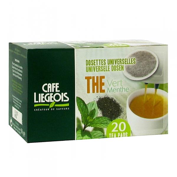 dosettes thé vert menthe pour senseo® café liégeois x 20