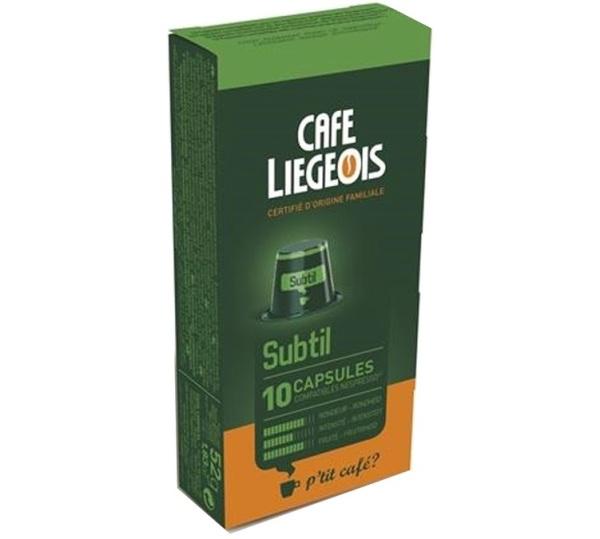 10 capsules compatible nespresso® subtil - café liegeois