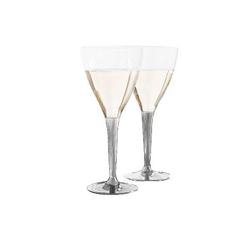 10 verres à vin cristal transparent pied argent 15 cl