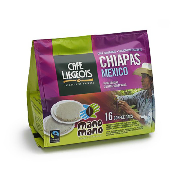 dosettes pour senseo® chiapas mexico mano mano café liégeois x 16